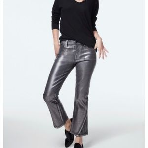 Selena Mid-Rise Cropped Boot Cut In Foiled Chrome